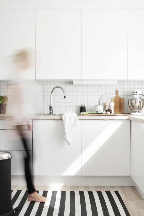 Waschbare Küchenteppiche weiß einrichtung Läufer streifen
