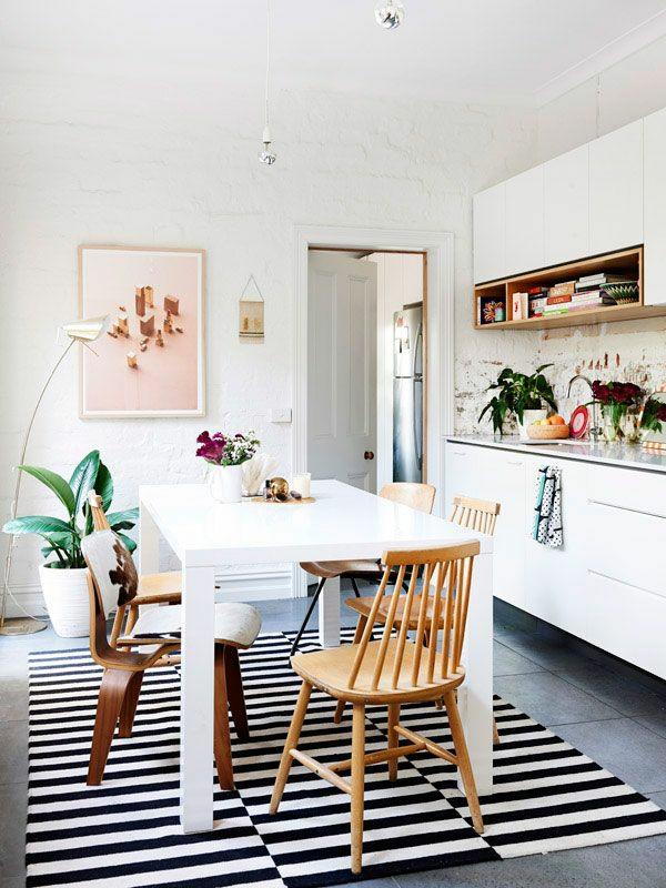 Waschbare Küchenteppiche wandfarben Läufer weiß tisch