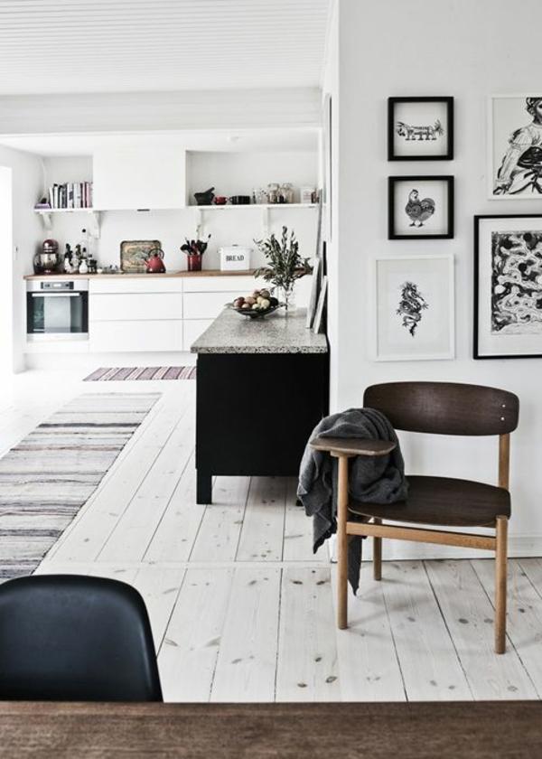 Waschbare Küchenteppiche und Läufer weiß