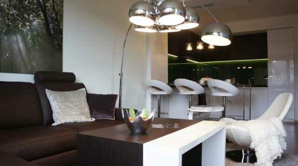dunkel braun sofa bezug stoff wohnzimmer essecke glanzvoll lampen