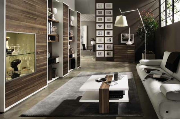 wohnlandschaft in braun und grau schafft einen maskulinen look. Black Bedroom Furniture Sets. Home Design Ideas