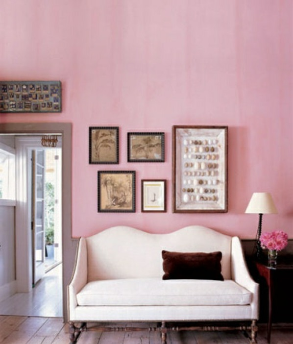 altrosa wandfarbe wohnzimmer klassisch vintage gemälde wand