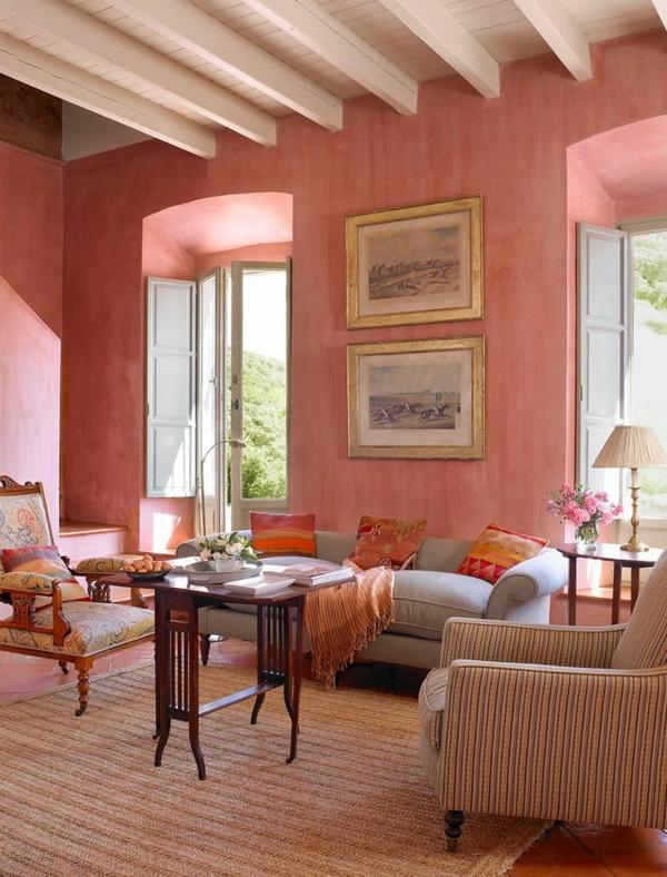 altrosa wandfarbe wohnzimmer klassisch vintage holzbalken