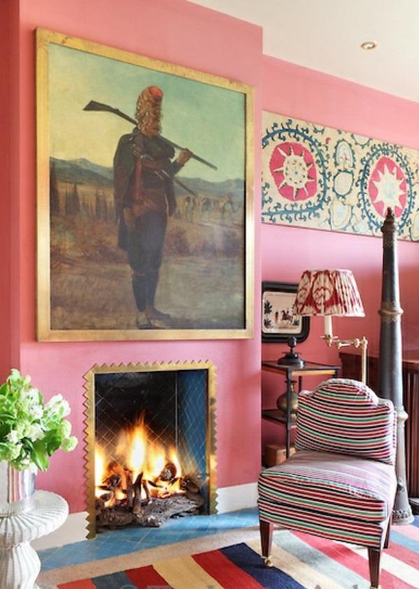 altrosa wandfarbe wohnzimmer klassisch vintage kamin