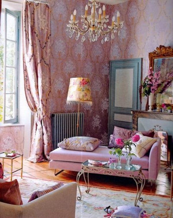 altrosa wandfarbe wohnzimmer klassisch vintage kronleuchter stehlampe