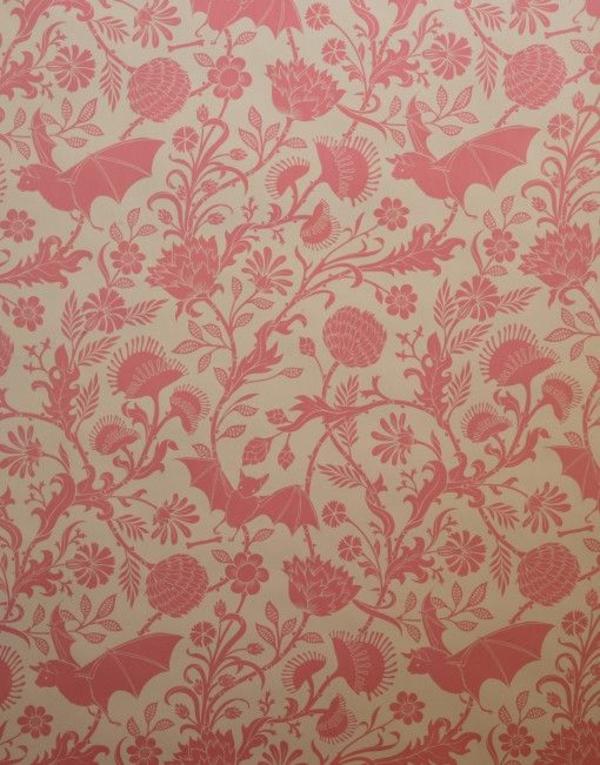 altrosa wandfarbe wohnzimmer klassisch vintage muster
