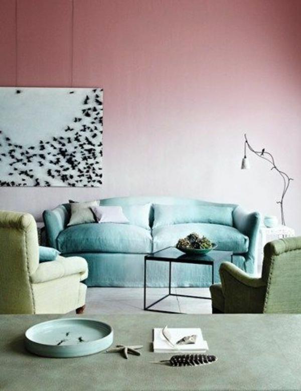 altrosa wohnzimmer klassisch vintage pastellfarben