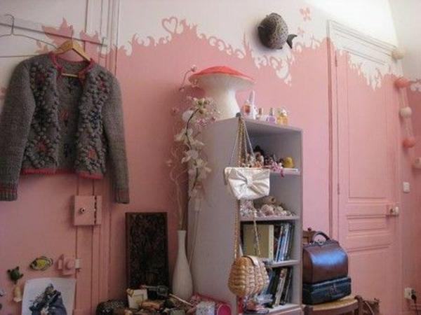 altrosa wandfarbe wohnzimmer klassisch vintage regale