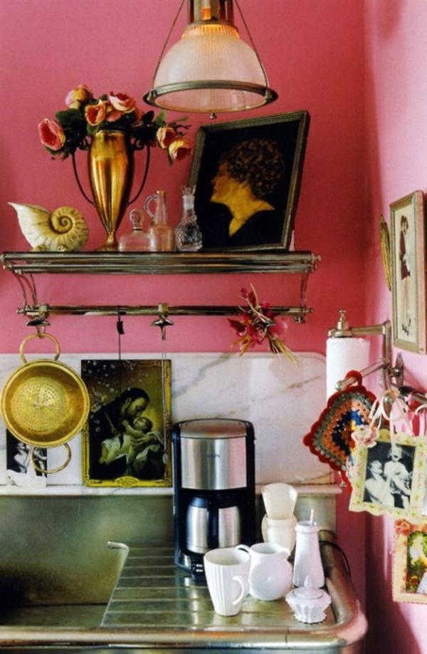 altrosa wandfarbe wohnzimmer klassisch vintage schiene