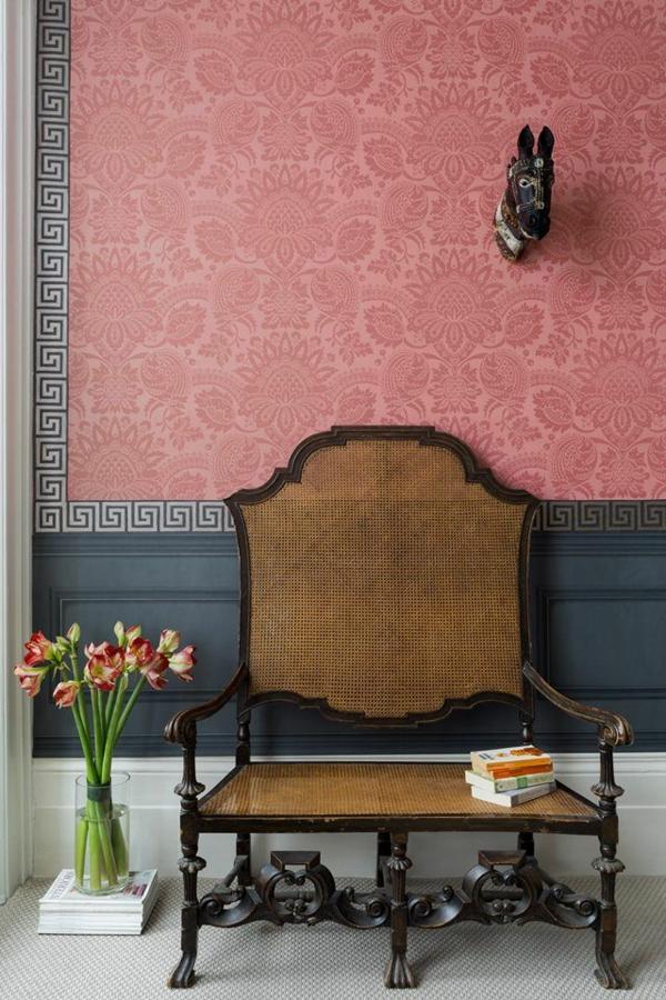wandfarbe wohnzimmer altrosa vintage stuhl groß