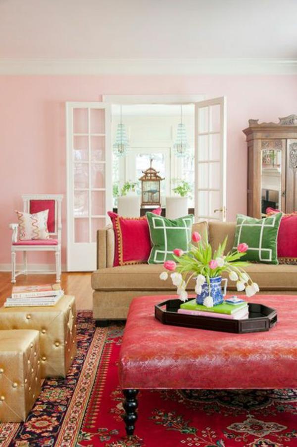 wohnzimmer klassisch wandfarbe vintage teppich