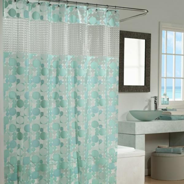 badezimmer duschvorhang türkis pünktchenmuster farbideen vorhangstoffe