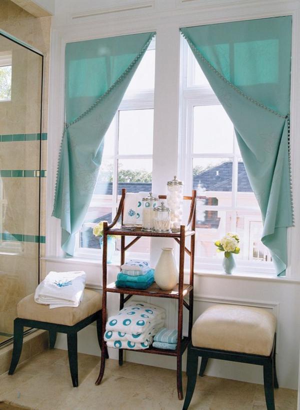 badezimmer einrichtungsideen vorhänge türkis badmöbel duschkabine