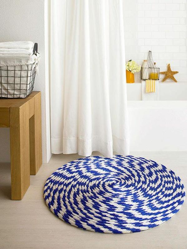 badmatte badteppiche badvorleger rund blau weiß