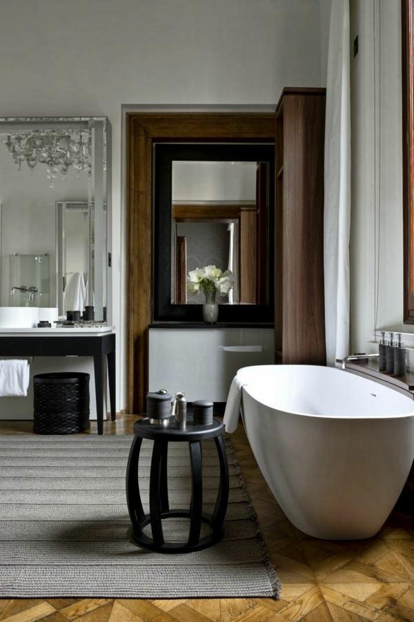 badmatte holzboden badteppiche badvorleger set freistehende badewanne