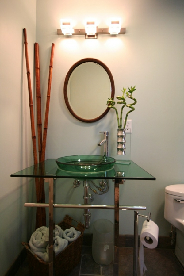 bambus badmöbel korbkisten asiatischer stil handtuch feng shui bad