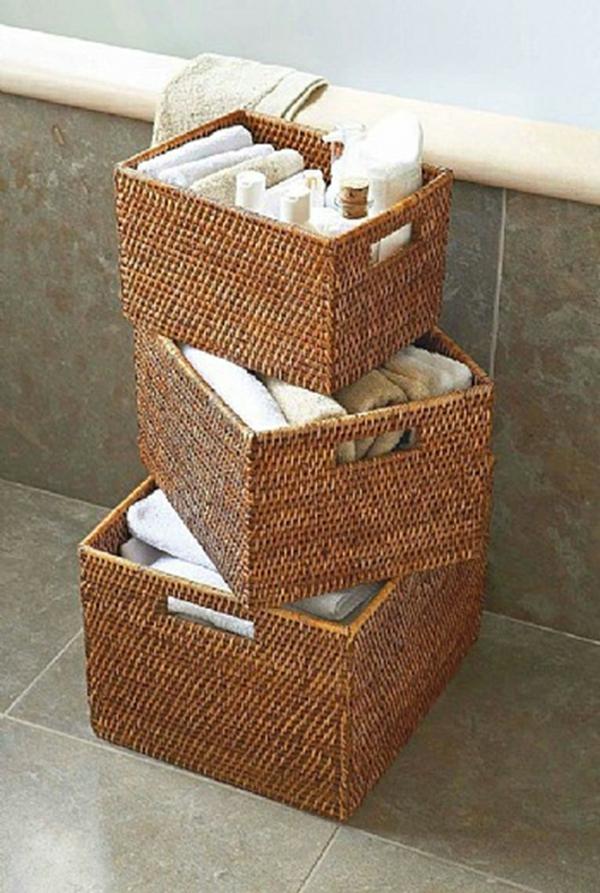 bambus badmöbel korbkisten flechtmöbel handtücher aufbewahren