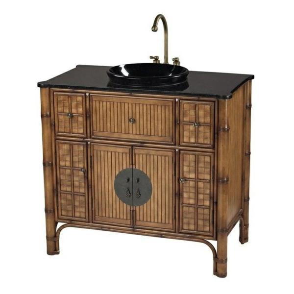 bambus badmöbel waschbecken mit unterschrank asiatischer stil badeinrichtung ideen