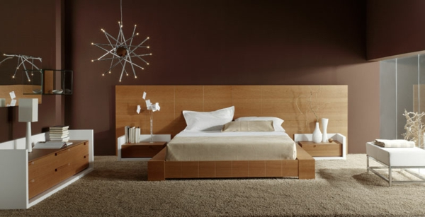 bett holz kopfteil einrichtungsideen schlafzimmer holzmbel teppichboden - Wandgestaltung Schlafzimmer Braun