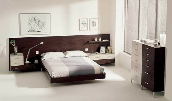 Bett Holz Kopfteil Einrichtungsideen Schlafzimmer Wanddeko