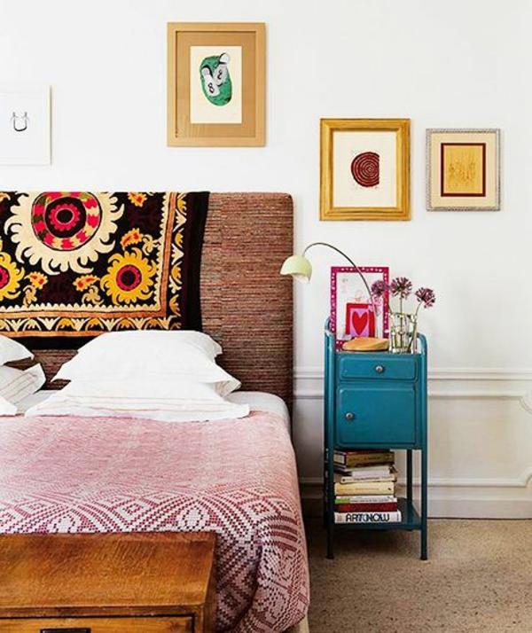 30 ideen f r bett kopfteil m rchenhafte und kunstvolle beispiele - Wandmuster fur schlafzimmer ...
