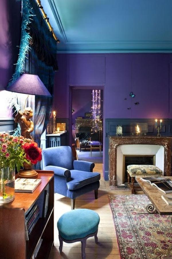 bunte wandfarbe blau lila kombination