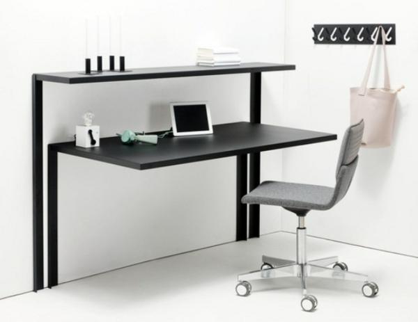 computertisch schwarz büroeinrichtung heimböro einrichten holz pc tische