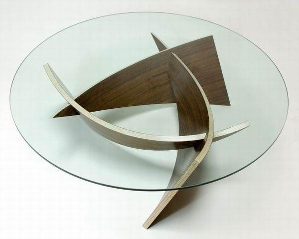 couchtisch glas rund holz beine einrichtung wohnzimmer designer möbel