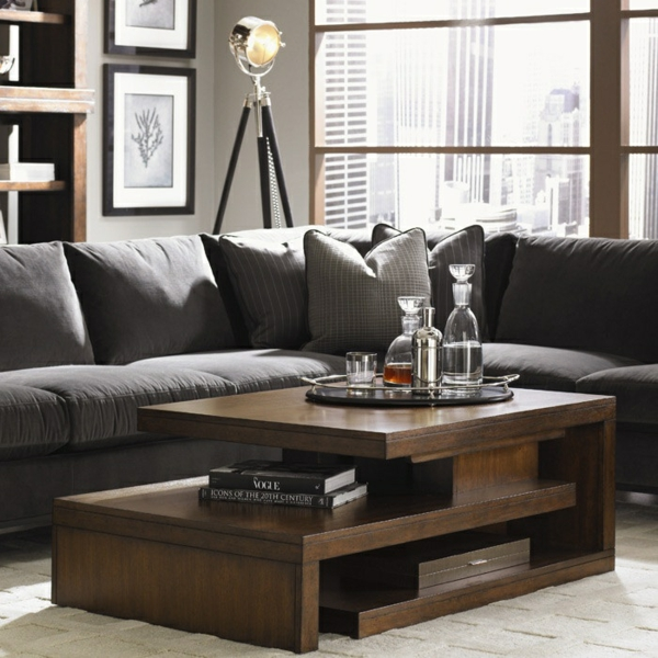 couchtisch holz massiv mit stauraum wohzimmer sofa