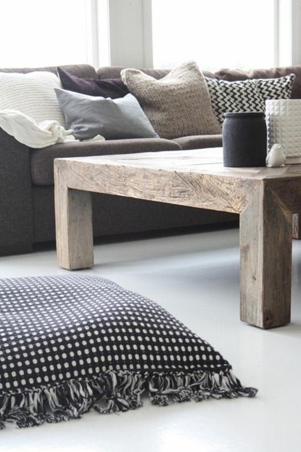 couchtisch holz rustikale einrichtung wohzimmer sofa
