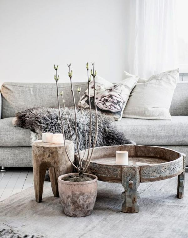 Couchtisch Holz Massiv Weis ~ couchtisch rund holz massiv holz orientalische akzente wohnzimmer sofa