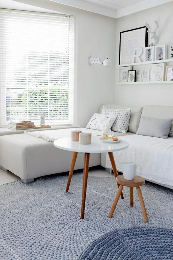 couchtisch rund holz weiß beistelltisch wohnzimmer modern einrichten