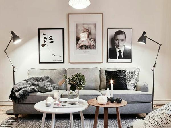 couchtisch rund holz weiß wandgestaltung wohzimmer sofa einrichtungsideen