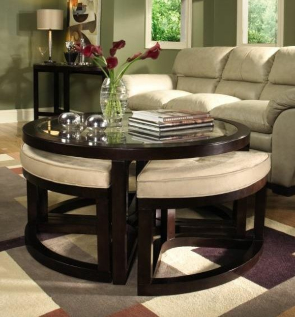 Couchtisch Rund Holz Wohnzimmer Möbel Modern Couchtisch Hocker