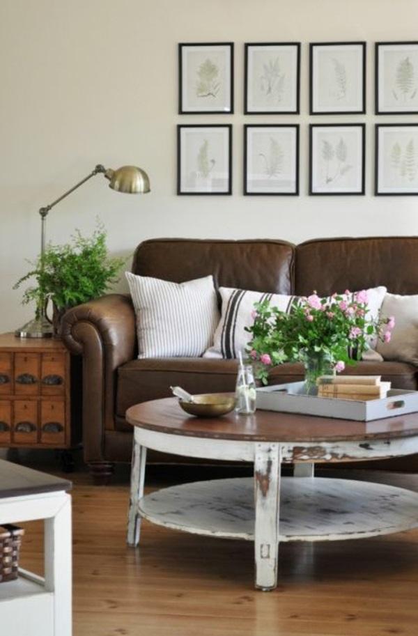 couchtisch rund holz wohnzimmer möbel runder couchtisch shabby chic stil