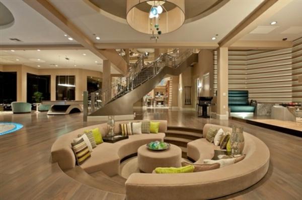 couchtisch rund modernes wohnzimmer gestalten holzboden polstermöbel