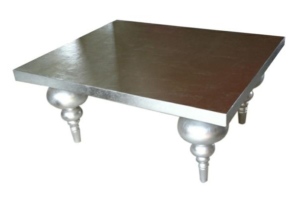 couchtische klassisch muster beistelltische in silber glatte platte