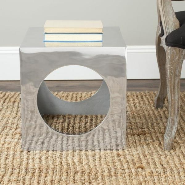 couch beistelltische in silber hocker