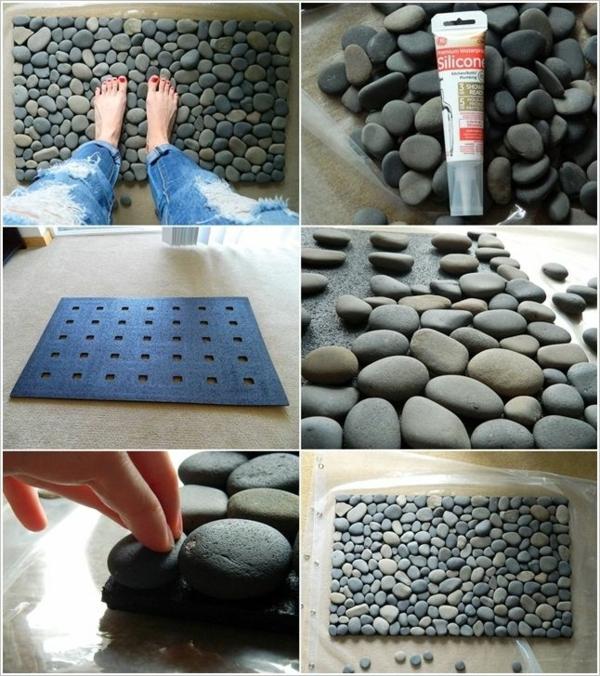diy badmatte selber machen kieselsteine badteppiche badvorleger set