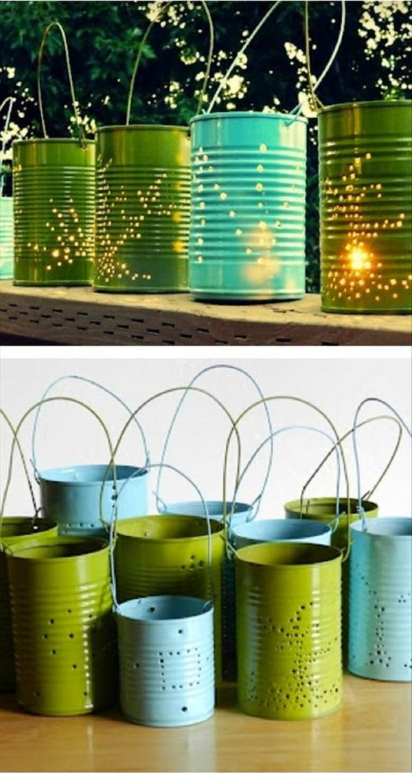 diy ideen konservendosen laternen gartenbeleuchtumg mit kerzen wohnideen selber machen