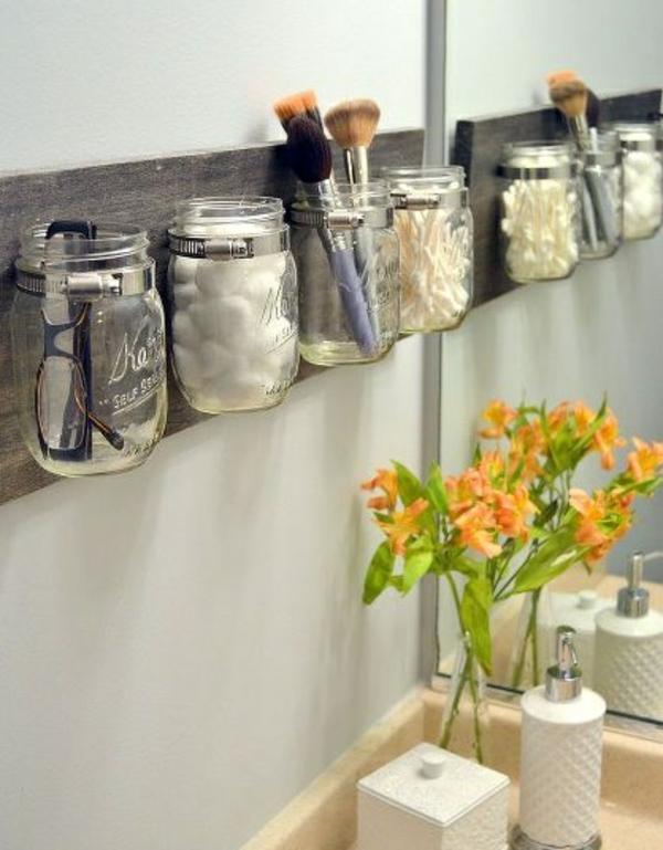 diy ideen kreative wohnideen holzplatte einweckgläser make up ordner