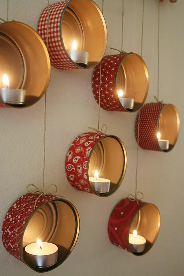 diy ideen kreative wohnideen konservendosen teelichter wandbeleuchtung