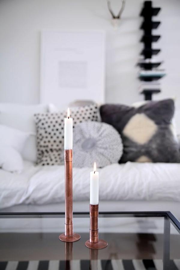 diy wohnideen metallrohr kerzenständer selber machen deko mit kerzen