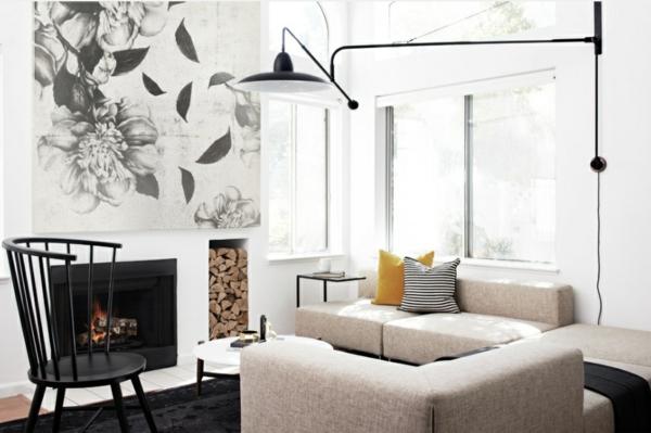 einrichtung wohnzimmer im scandinavischen stil kamin skandinavische möbel
