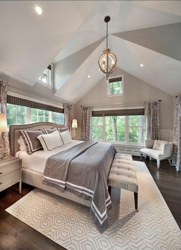 einrichtungsideen schlafzimmer bett teppichboden ottomane