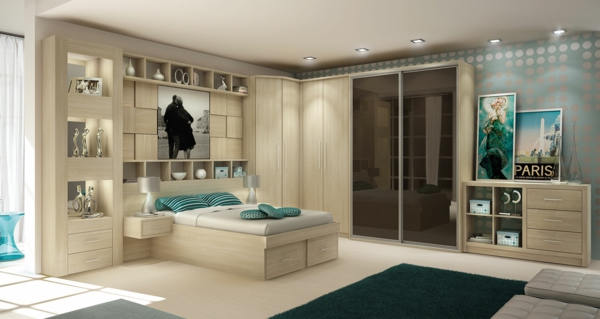 einrichtungsideen schlafzimmer holzmöbel holzboden bett schrank