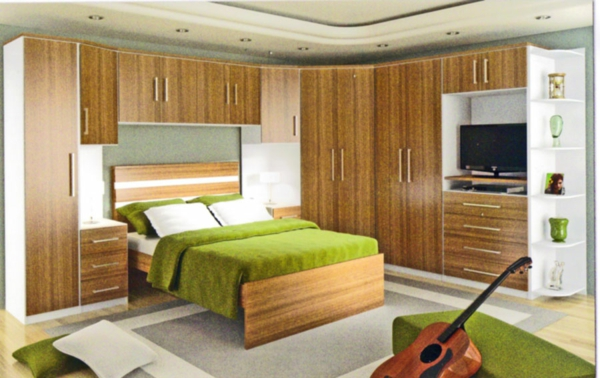 einrichtungsideen schlafzimmer wandfarbe grün eckschrank