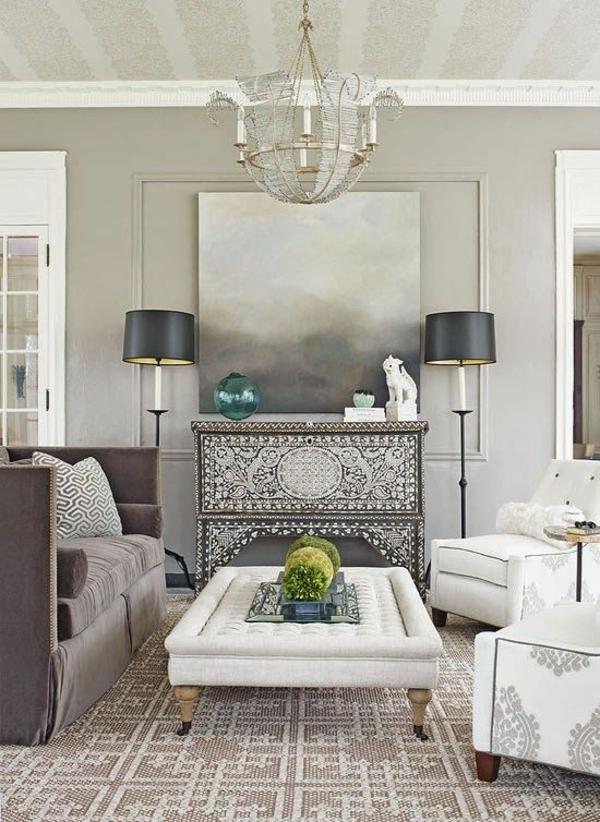 einrichtungsideen lampen wohnzimmer möbel modern symmetrie