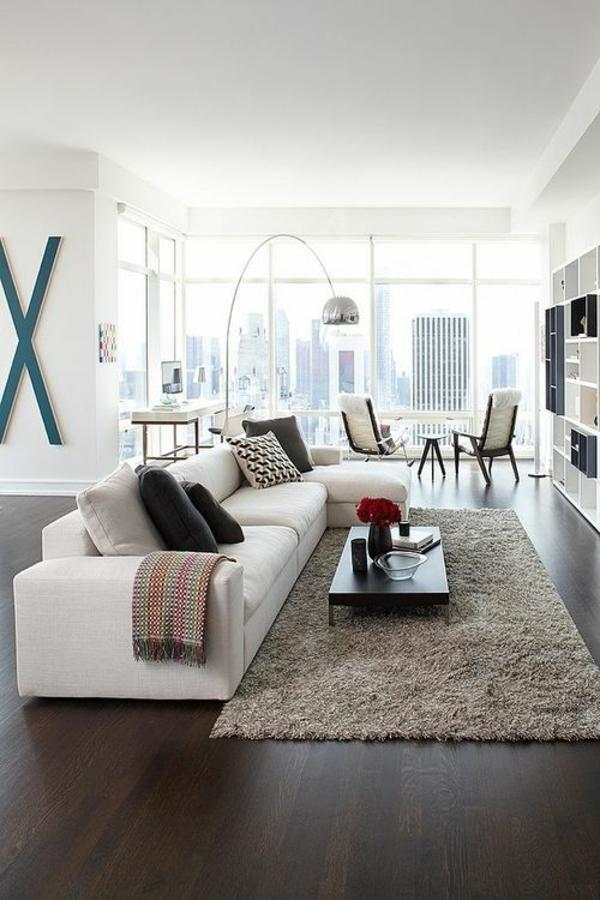 bogenlampe silbern wohnzimmer möbel modern trendy chromatisch