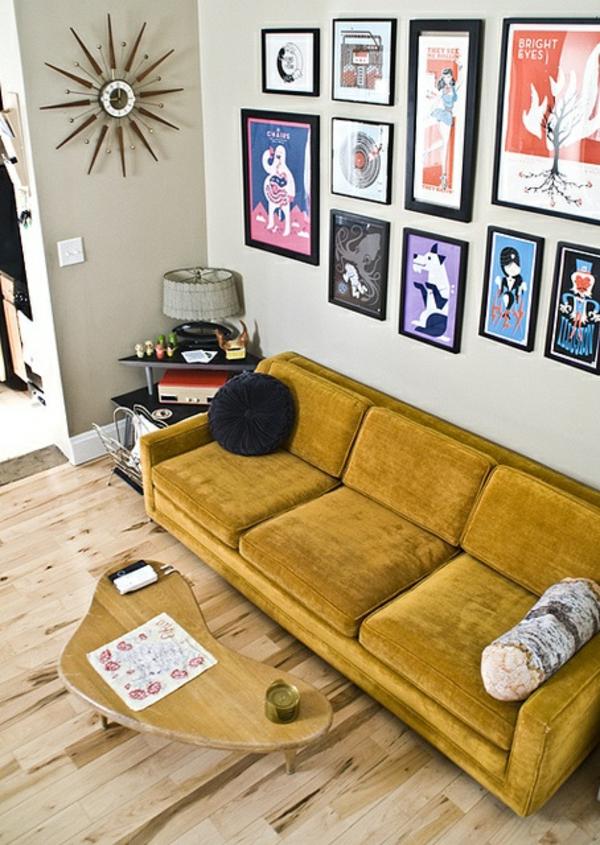bilder wand wohnzimmer möbel modern trendy gelb polsterung